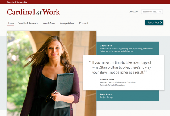 Screenshot of Cardinal at Work homepage