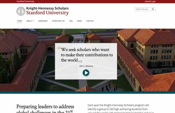 Screenshot of Knight-Hennessy Scholars homepage