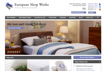 European Sleepworks homepage screenshot
